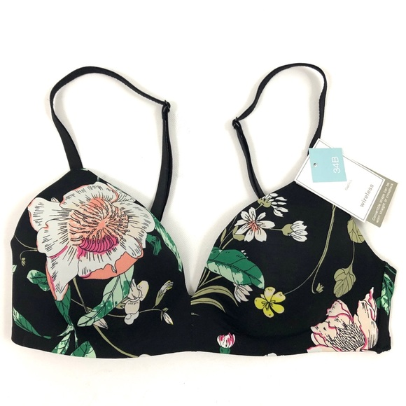 56ca15c577c NWT Gap Body 34B Black Floral Wireless Bra